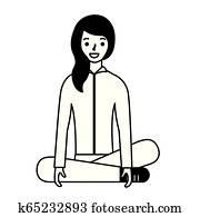 Frau sitzen, mit, beine, breit offen, porträt Stock Foto