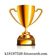Golden trophy isolated on white vector