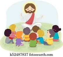 Stickman Kids Jesus Preach Illustration