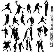 basketball, silhouetten, sammlung
