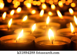Candles glowing in the dark