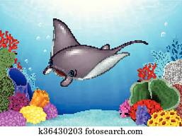 Cartoon stingray with Coral Reef