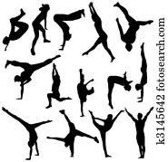 gymnastisch, silhouetten, sammlung