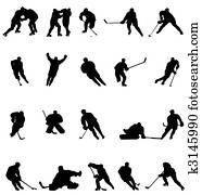 hockey, silhouetten, sammlung