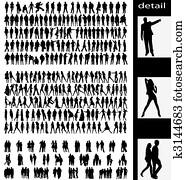 men,, woman,, goups, und, paare, silhouetten