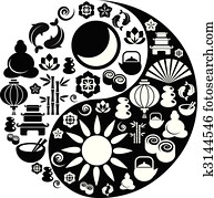 yin yang symbol, gemacht, von, zen, heiligenbilder