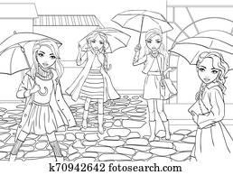 Girls With Umbrellas Walk In Rain City