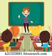 kindern, und, lehrer, auf, klassenzimmer