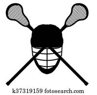 lacrosse equipment black outline silhouette illustration
