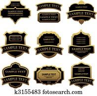 satz, von, goldenes, etiketten, und, rahmen