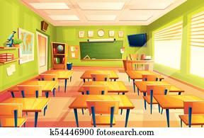 Vector cartoon empty school, college classroom