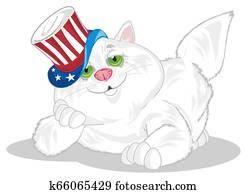white fat cat