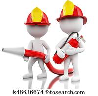 3d Fireman with helment, hose and extinguisher.