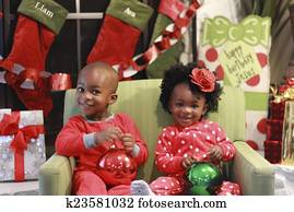 Black children's Christmas Photo
