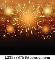 Stock Photography of Fireworks exploding in sky, long ...
