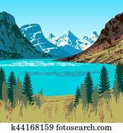 Illustration of Glacier National Park