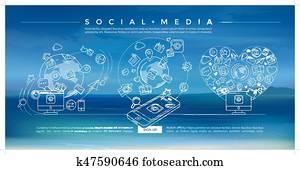 soziales, medien, blau, linear, abbildung