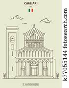 St. Mary cathedral in Cagliari, Italy. Landmark icon