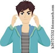 Teen Boy Cover Ear