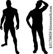 2 sexy men silhouettes on white background