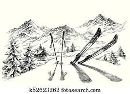 ferien, an, ski, background,, bergwelt, panorama, in, winterbilder, skizze