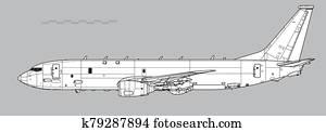 boeing, p-8, poseidon, mit, harpune, anti-ship, missiles., aufrei?en, vektor, zeichnung