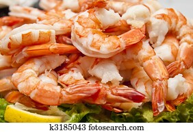 Fresh Boiled Shrimp and Lemon Slice