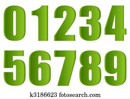 Green numbers.