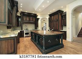 Kitchen with dark cabinetry