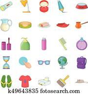Menage icons set, cartoon style