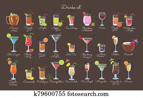 Set of drinks on a brown background. Vector graphics.