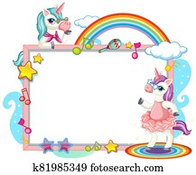 Cute unicorn with blank banner