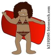 ethnic girl drying off with towel in bikini bathing suit