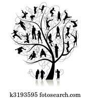 familie, tree,, verwandte