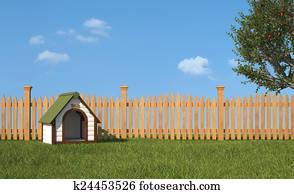 Kennel on grass in the garden
