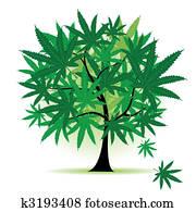 kunst, baum, fantasy,, cannabis blatt