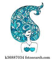 Mermaid portrait, zentangle sketch for your design