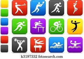 sport, symbol, sammlung