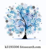 winterbilder, tree,, snowflakes., weihnachten, holiday.