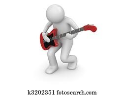 Emotional rock guitarist