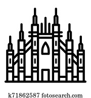 Milan gothic basilica icon, outline style