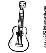 Ukulele line art illustration