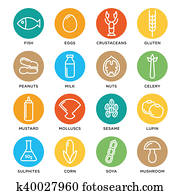 Allergen icons set collection