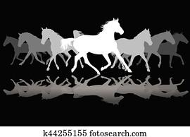 Clipart Pixel Art Troupeau Chevaux K27339363 Recherchez Des