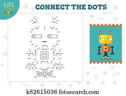 Connect the dots kids game vector illustration. Preschool children educational activity