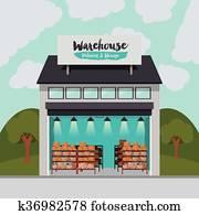 Package Box Clip Art Toy Line Delivery Clipart Transparent - Storage  Warehouse Warehouse Clip Art, HD Png Download , Transparent Png Image -  PNGitem