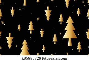 Gold Christmas trees minimal composition seamless pattern. Vector illustration