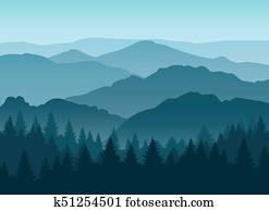 Misty blue mountain silhouettes background