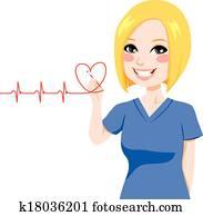 Nurse Drawing Heart