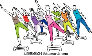 people fitness steps aerobics illus